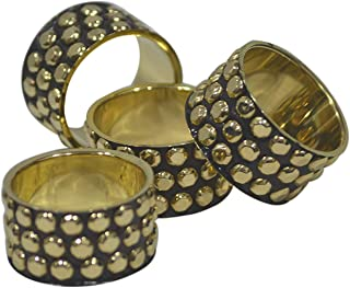 Indian Accent Metal Napkin Rings Black Color with Golden Stone Diameter 1.5