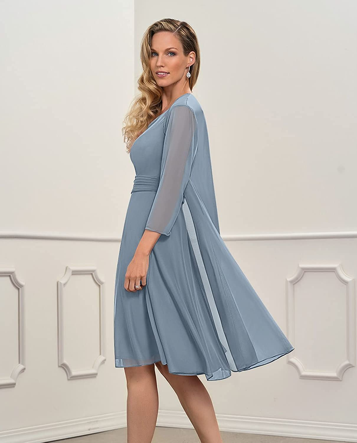 Women's Chiffon Short Mother of The Bride Dress with Jacket Sleeves Knee Length Formal Evening Gown