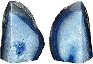 JIC Gem Home Decorative 2 to 3 Lbs  Polished Geode Agate Bookends 1 Pair with Rubber Bumpers Dyed Blue Color