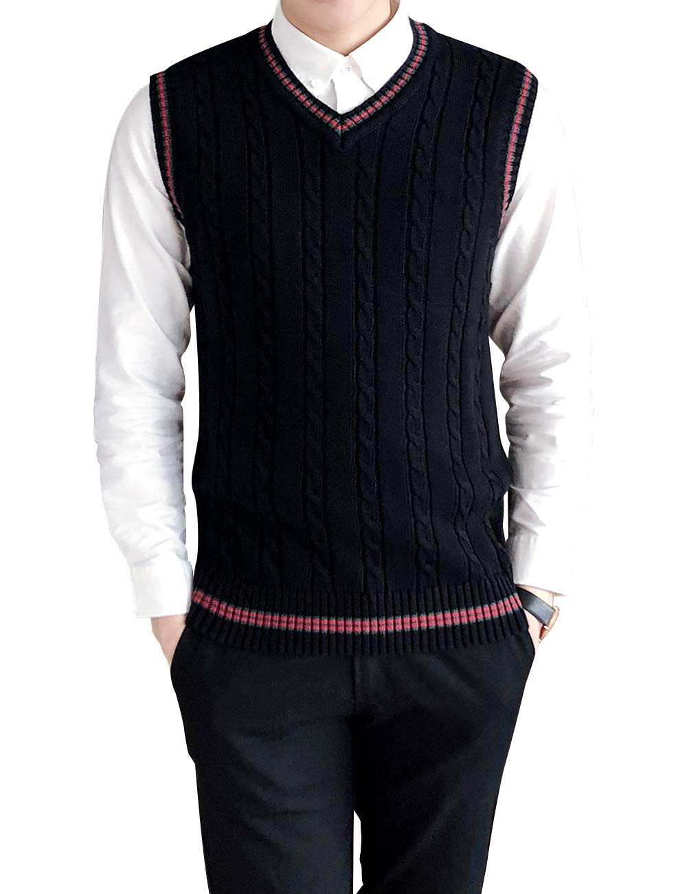 TopTie Mens Casual Fit V-Neck Cotton Sweater Cardigan