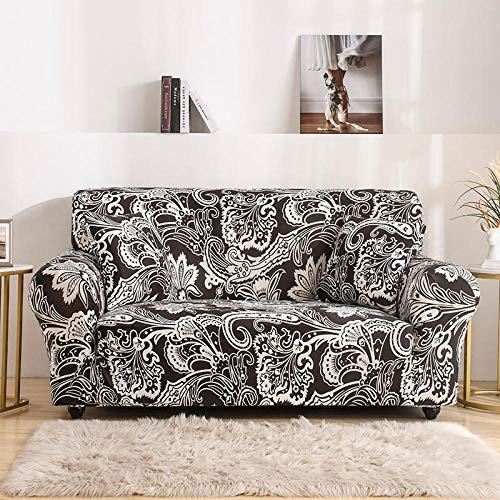 Funda de sofá de 2 Plazas Funda Elástica para Sofá Poliéster Suave Sofá Funda sofá Antideslizante Protector Cubierta de Muebles Elástica Flor Blanca Negra Funda de sofá