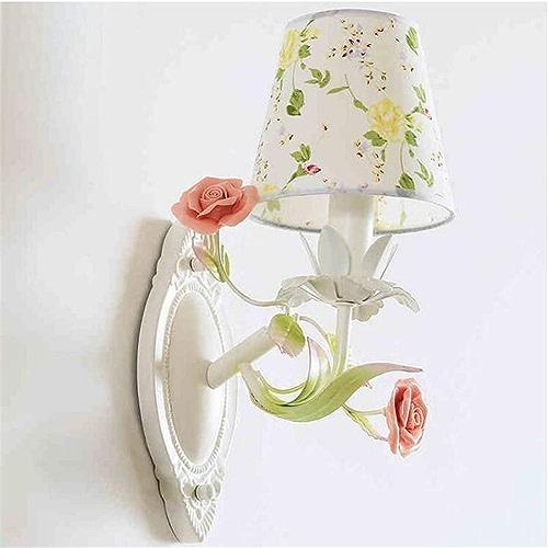 Lampe, fer forgé, fleur en céramique, appliques chaudes en forme de drap éclairage de mariage [Classe énergétique A +]