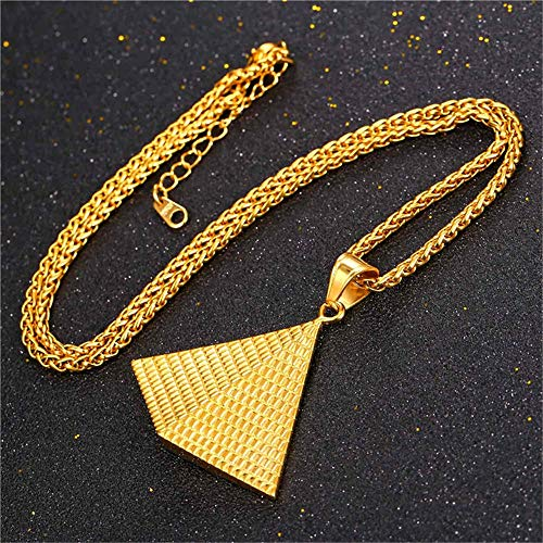 VAWAA Egyptian Pyramid Necklace Men 316L Stainless Steel Wheat Chain Women Egypt Jewelry Medallion Collar Necklace