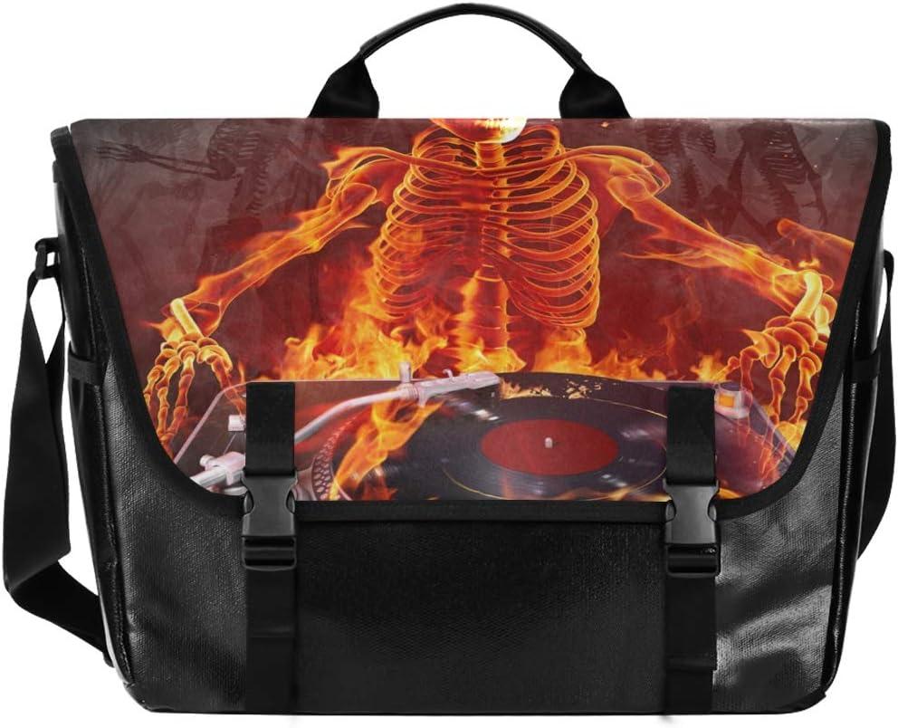 Messenger Bag Fire OFFicial site DJ Skull Unisex Office Casu Online limited product Briefcase Satchel