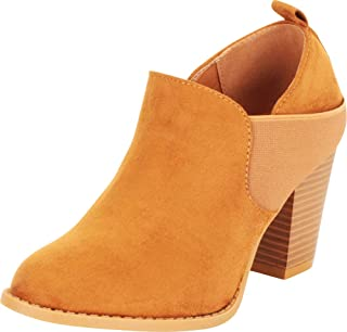 Cambridge Select Women's Almond Toe Stretch Slip-On Chunky Stacked Block Mid Heel Shootie Ankle Bootie