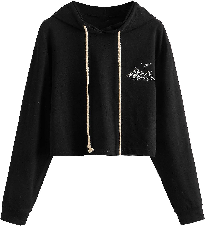 MakeMeChic Women's Long Sleeve Mountain Printed Sweatshirt Crop Top Hoodies