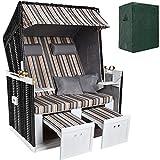 TecTake Chaise Cabine de Plage + Housse de Protection + 2 Coussins - diverses Couleurs au Choix - (Rayé | no. 401100)