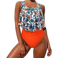 MOOSLOVER Women's Cute Ruffle Bikini Top High Waisted Print Two Piece Swimsuit