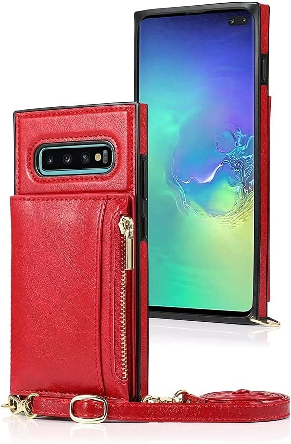Case for Samsung Galaxy S10, Zipper Wallet Case with Credit Card Holder/Crossbody Long Lanyard, Shockproof Leather TPU Case Cover for Samsung Galaxy S10 (Color : Red)