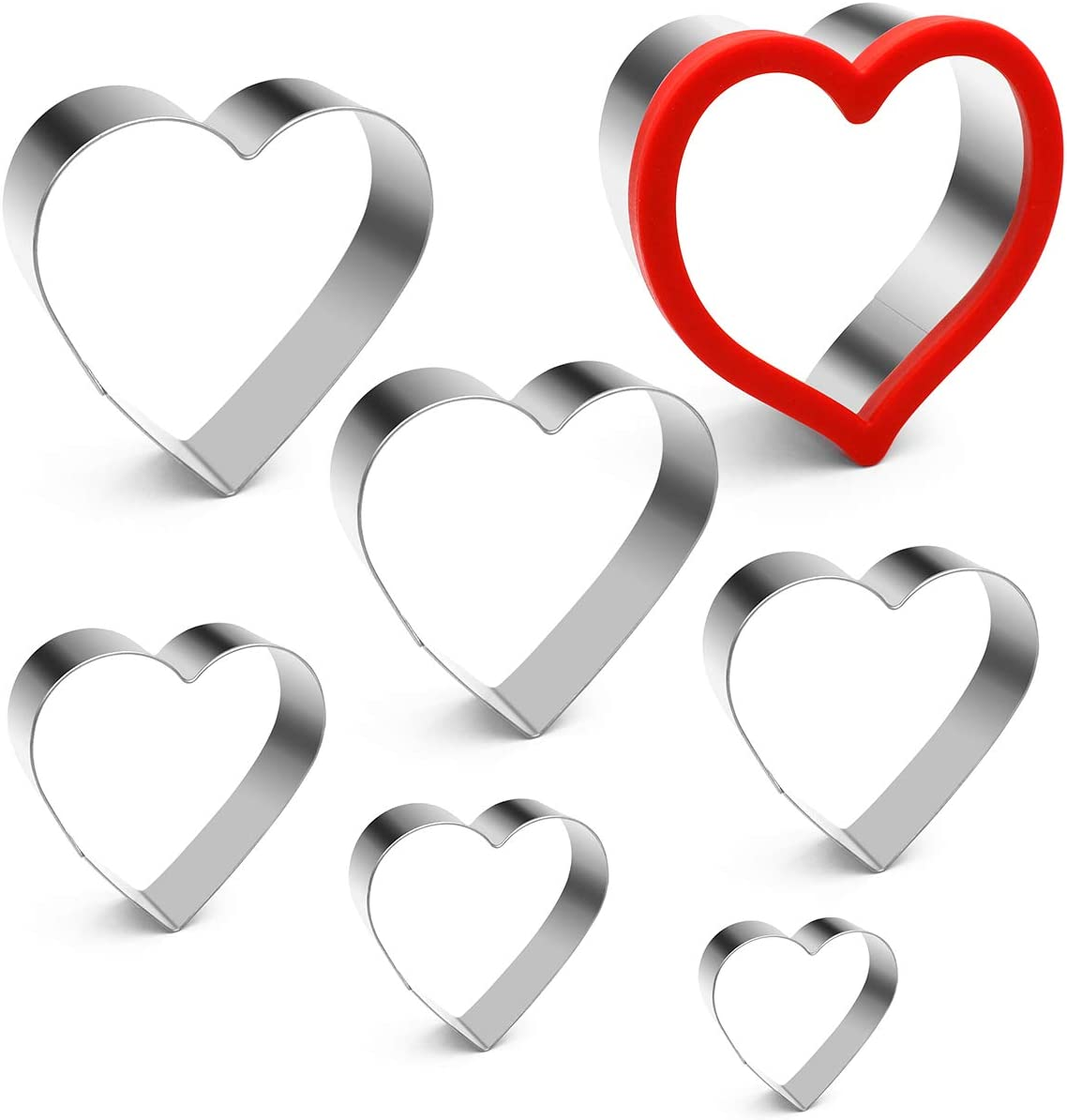 ANPOPO Heart Cookie Cutters for Anniversary, Bridal, Engagement and Valentine - 7 Piece Stainless Steel Heart Shapes 1.57in, 1.97in, 2.36in, 2.76in, 3.15in, 3.54in, 3.94in