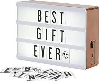 My Cinema Lightbox Rose Gold Light Box, Micro LED Marquee with 100 Letters, Numbers and Emojis, DIY Mini Sign, A6 Size 4x6 inches, Metallic Rose Gold Finish With Matching Braided Rose Gold USB Cable