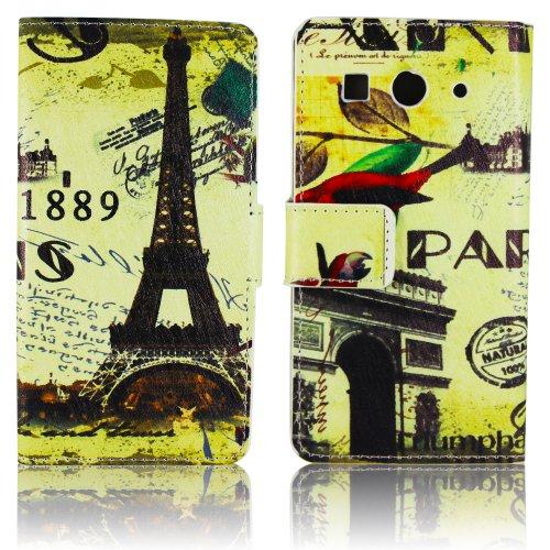thematys Huawei Ascend G520 G525 Kunst-Leder Paris 1889 Design Klapp Stand Etui Schutz-Hülle Hülle Flip Tasche Cover