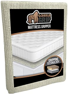 Gorilla Grip Original Slip Resistant Mattress Gripper Pad, Queen Size, Helps Stop Bed and Topper from Sliding, Stopper Wor...