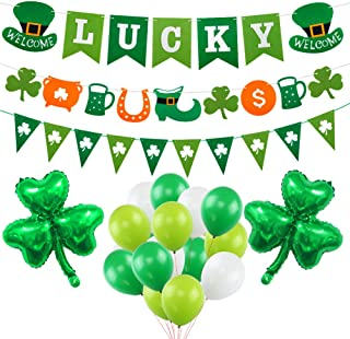 St Patrick's Day Decoration Kit, Lucky Irish Shamrock Banner for St.Patrick's Day with 18 Inch Foil Shamrock Balloons 30 Latex Balloons