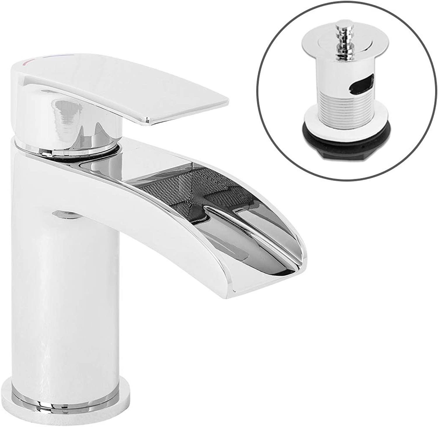 Modern Waterfall Mono Basin Sink Mixer Tap Bathroom Solid Brass Chrome Finish Lever Action