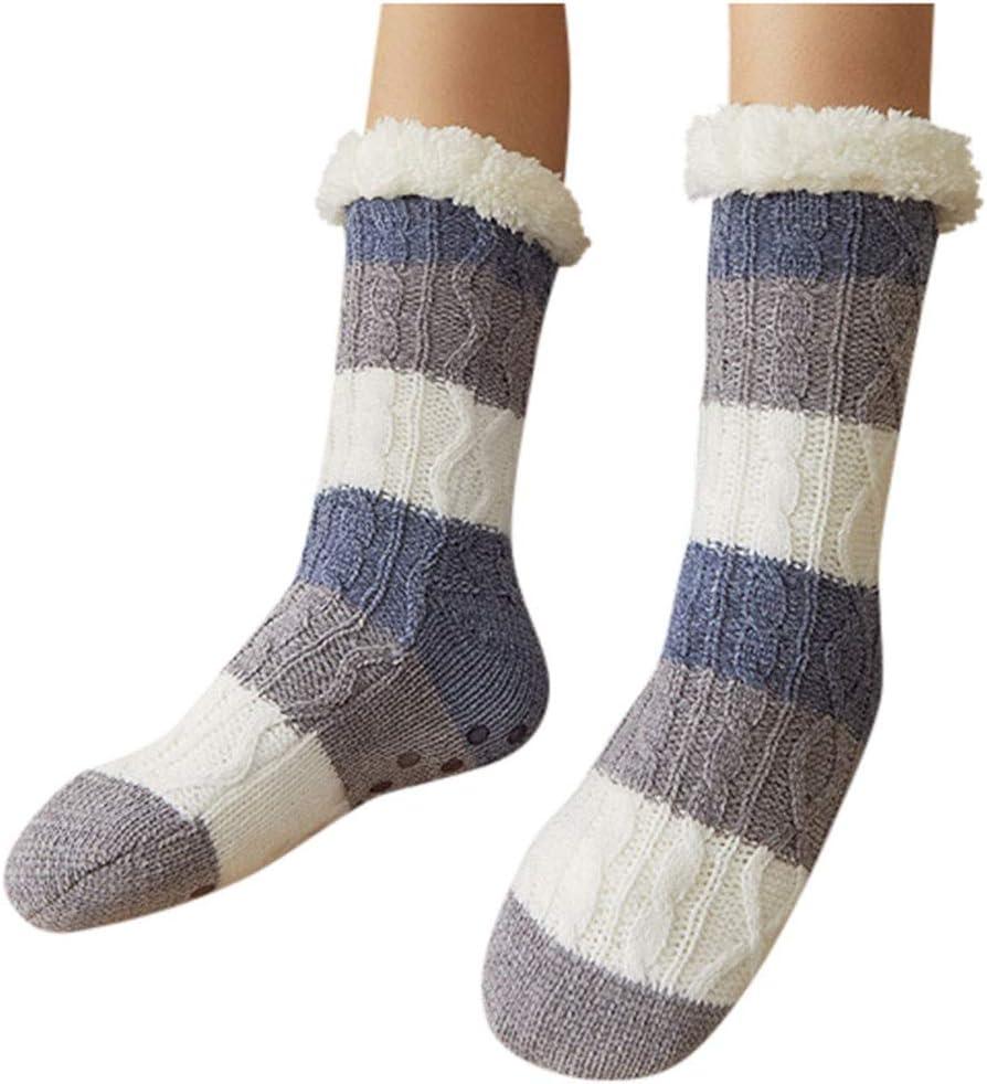 Evangelia.YM Winter Warm Floor Mid Stocking Socks Hosiery, Twist Woolen Knitted Thicken Thermal Fleece Lined Non Slip Home Indoor Slippers Sock
