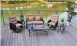 Pebble Lane Living 5-Piece Patio Conversation Set, Includes 2 Swivel Rocking Wicker & Cushion Chairs, 1 Cushioned Loveseat, 1 Slat-Top Coffee Table, 1 Slat-Top Side Table, Bronze & Tan