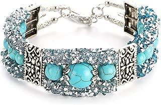 CTRCHUJIAN Boho Vintage Turquoises Bracelets For Women Round Beads Hand Pendant Bright Zircon Woman Charm Bracelet Fashion Jewelry