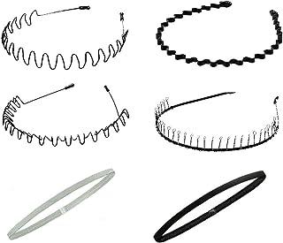 JUN-H 6 Pezzi Fascia per Capelli Elastica Accessorio per la Testa Fascia per Capelli Antiscivolo Elastici per Capelli Asci...