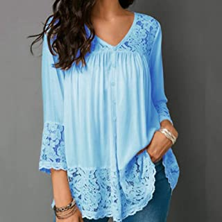 T-shirt Lace Stitching Shirt V-neck Cropped Sleeve T-shirt, Size:5XL(White) T-shirt (Color : Light Blue, Size : 5XL)