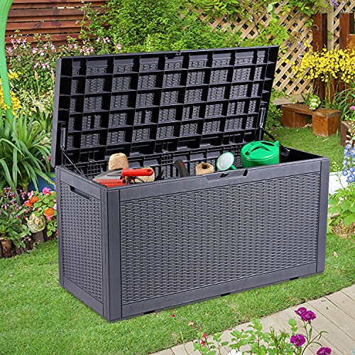 Do4U 100 Gallon Resin Deck Box with Soft Cushion, Large Waterproof Outdoor /indoor Storage Box for Patio Furniture Accessories, Garden Tools, Pool Toys, Garage and Yard-Dark Gray (black)