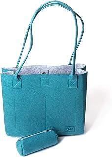 Shopper Greta Einkaufstasche Damen Filztaschen Shopper Handtasche groß Schultertasche - Petrol & Grau (15L)