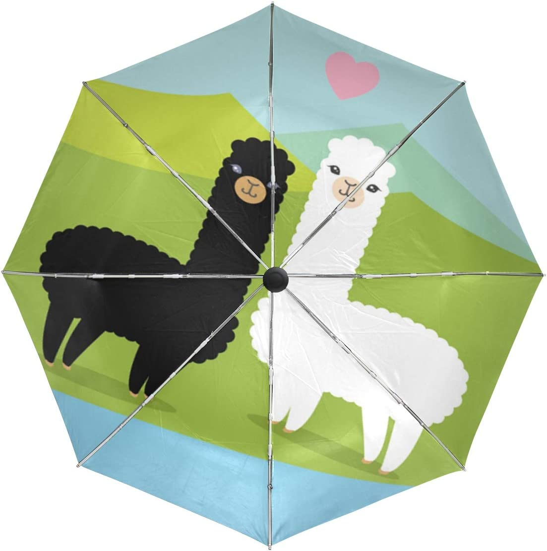 Wamika Funny Lovely Cartoon Special price Alpaca Chicago Mall Compa Auto Windproof Umbrella