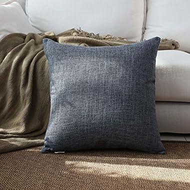 Kevin Textile Burlap Decorative Throw Pillow Euro Sham Pillowcase Home Cushion Cover, 18 x18 , Dark Grey,1 Piece
