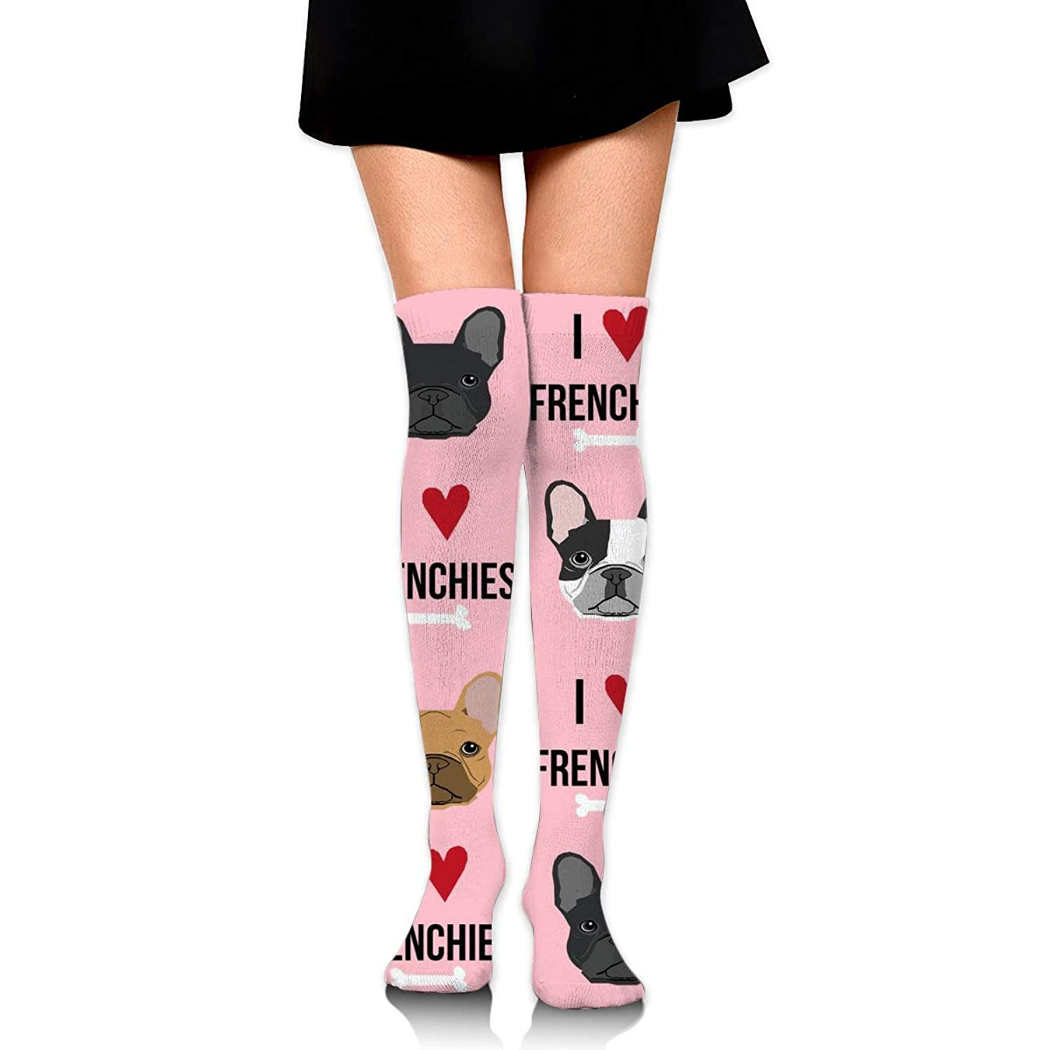 MKLOS 通気性 圧縮ソックス Breathable Knee High Leg Warmer I Love French Bulldogs Pink Exotic Psychedelic Print Compression High Tube Thigh Boot Stockings Women Girl