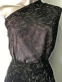 5métres muselina blanco y negro viscosa y algodón estampado efecto encaje...