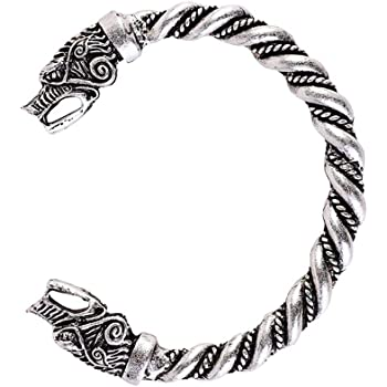 Stainless Steel Celtic Twisted Cable Wire Torc Cuff Bangle with Alloy Oval End Caps Length 8