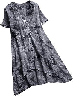 JUTOO Damen Vintage Maxikleid,Floral Bedruckt gefälschte Zweiteilige Patchwork mit Langen Ärmeln Oansatz,Maxi Kleider Beach Party Kleid,Kurzarm Kleid
