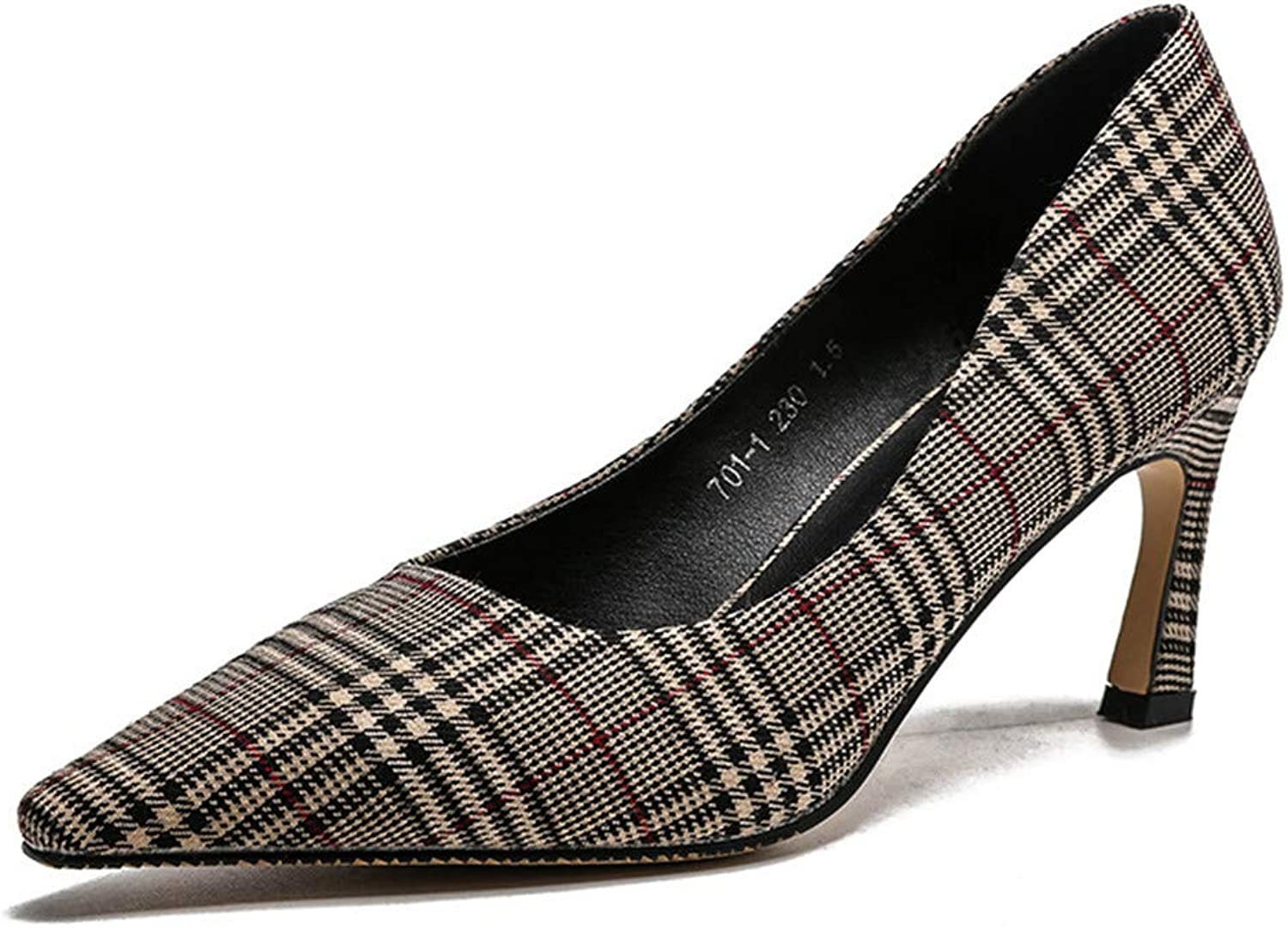 Meiren Pointed Single Wild Women's shoes Plaid Shallow High Heels Khaki