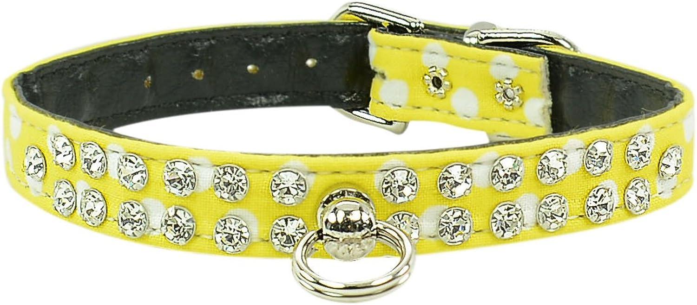 Evans Collars 1 2  Jeweled Collar, Size 10, Polka Dot, Yellow