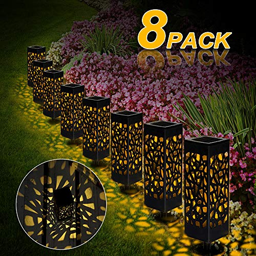 Solarleuchte Garten, 8 Stück LED Solarlampe Gartenleuchte Bahn Lichter Außenleuchte Wasserdicht IP65 Lichteffekt Dekoration Licht für Terrasse Rasen Garten Hinterhöfe Wege (Warmweiße)