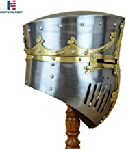 NAUTICALMART Medieval 13th Century Great Pot Helm with Brass Crown and Cross