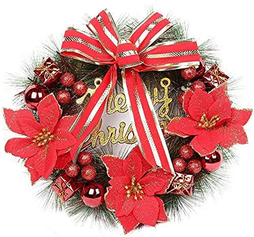 Yisss Corona de Navidad 40 cm Guirnalda de Navidad Puerta de Entrada Adorno de Pared Interior al Aire Libre Guirnalda con...