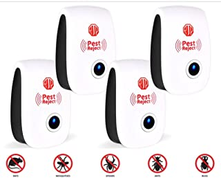 Rjordan Products 2018 4-Pack of ULTRASONIC PEST Repeller Plug-in, Friendly Solution for PEST INFESTATION-Repels, Mouse, Spiders, ROACHES, Mosquitos, Ants, Non-Toxic ECO-Friendly, Human & PET Safe