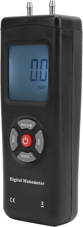 Denkerm Manómetro diferencial, manómetro Digital, 10 PSI, Pantalla Grande, portátil de Alta precisión, 11 Unidades de presión de Aire, ABS para Sistema de ventilación, Sistema de Aire