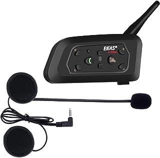 Ejeas V6 Pro Auriculares Intercomunicador Moto Bluetooth para Motocicletas, Gama Comunicación Intercom de 1200m, intercomu...