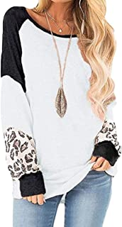 Loyomobak Women's Tee Tops Long Sleeve Color Block Leopard Print Blouse T Shirts