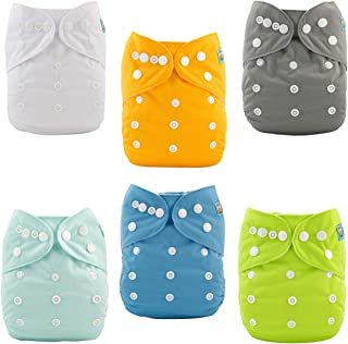 ALVABABY Baby Cloth Diapers One Size Adjustable Washable Reusable for Baby Girls and Boys 6 Pack with 12 Inserts 6BM98