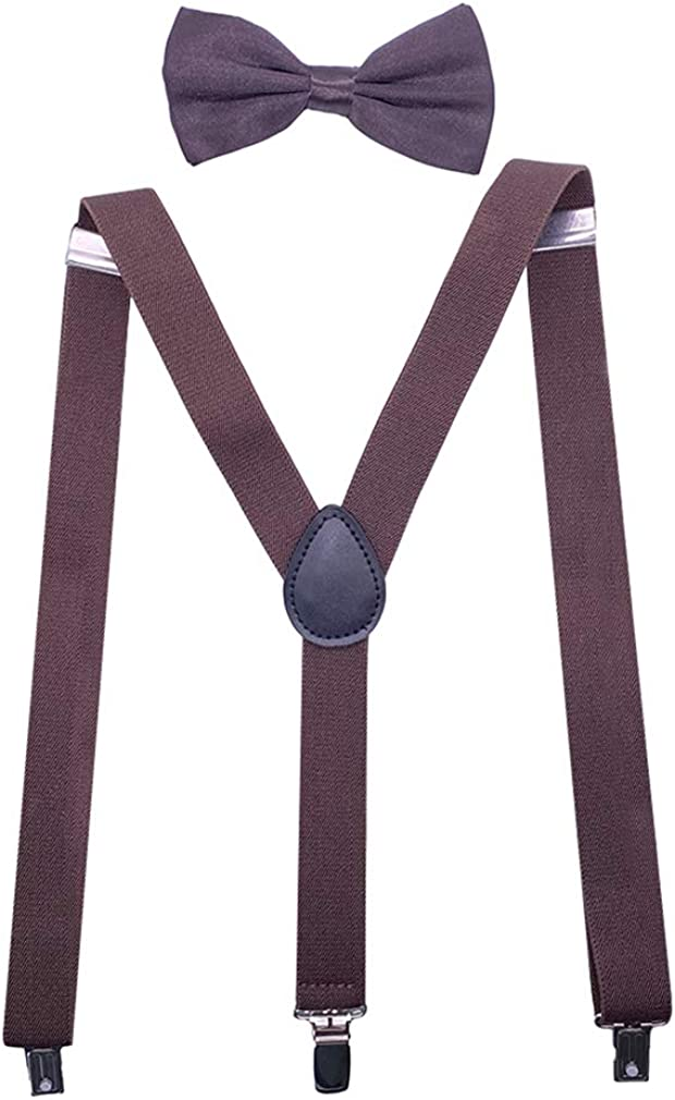 Mens Solid Color Y-Back Suspenders&Bow Tie Set 1''Wide Heavy Duty Braces&3 Clips