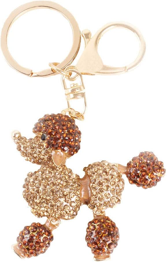 Dog Poodle Keychain Rhinestones Purse Bag Charm Pendant Keyring Gift (Gold)