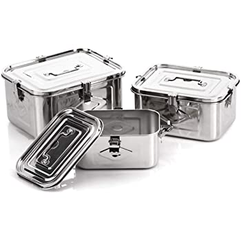 Stainless Steel Rectangular Food Storage kimchi container (3set)