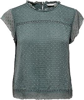 ONLY Women's ONLFLORA CAPSL TOP WVN NOOS Blouse, Color:Balsam Green_18-5606 TCX, Size:42