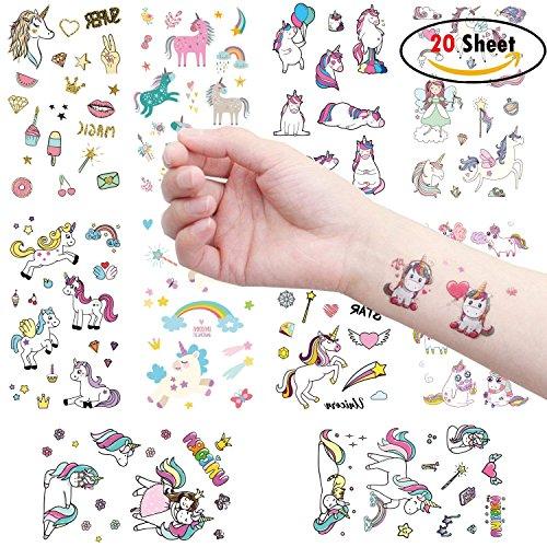 Clerfy Acc 500pcs Unicornio Tatuajes temporales Falso Tatuajes Pegatinas para niños niñas...