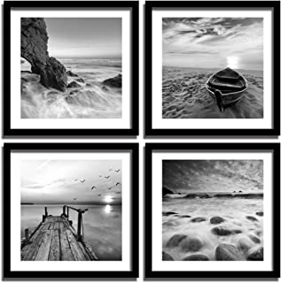 ENGLANT-4 Panels Set Framed Canvas Print for Seascape Beach and Boat Sunrise Scenery Black and White Giclee Canvas Print Wall Art Ready to Hang
