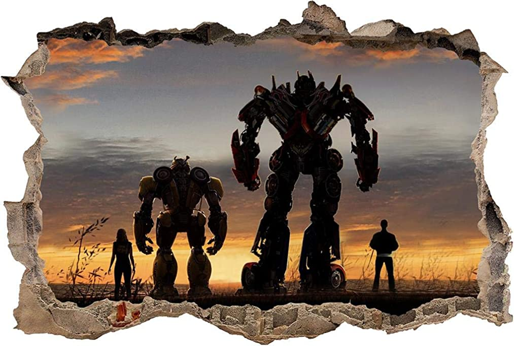 Bumblebee Optimus Prime Decal 3D Smashed Wall Sticker Mural Transformers J1349, Mini