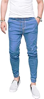 Jubaton Pantaloni da Uomo con Coulisse in Vita Elastica Pantaloni Jeans Slim Fit alla Caviglia Elasticizzata Tinta Unita